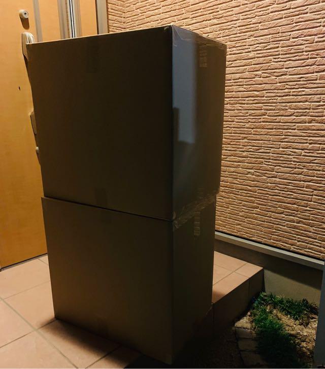 事前に送れる荷物。段ボール2箱までOK。真夜中にコンビニで出した。